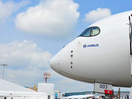 msn: SINGAPORE - FEBRUARY 12: Nose of Airbus A350-900 XWB at Singapore Airshow February 12, 2014 in Singapore