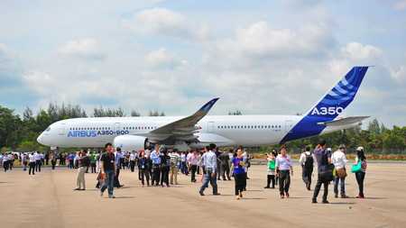 msn: SINGAPORE - FEBRUARY 12: Arrival of Airbus A350-900 XWB at Singapore Airshow February 12, 2014 in Singapore Editorial