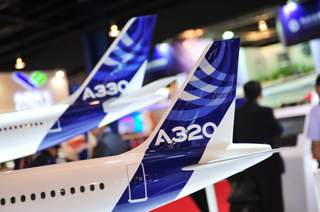 SINGAPORE - FEBRUARY 12: Tails of Airbus A330 and A320 Neo models at Singapore Airshow February 12, 2014 in Singapore
