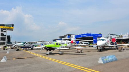 cessna: SINGAPORE - FEBRUARY 9: Various Cessna aircraft on display at Singapore Airshow February 9, 2014 in Singapore