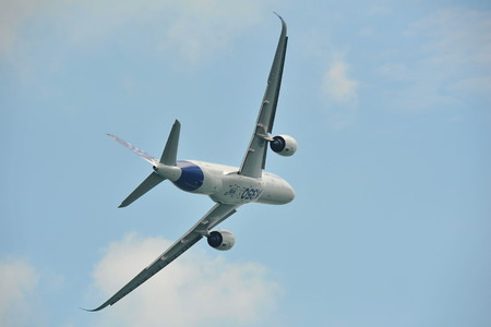 msn: SINGAPORE - FEBRUARY 12: Airbus A350-900 XWB MSN 003 performing aerobatic display at Singapore Airshow February 12, 2014 in Singapore