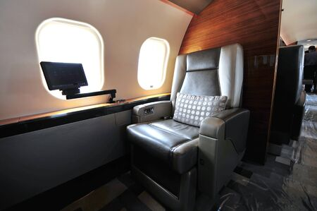 bombardier: SINGAPORE - FEBRUARY 12: Luxurious interior of Bombardier Global 6000 executive jet at Singapore Airshow February 12, 2014 in Singapore