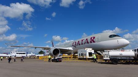 airways: SINGAPORE - FEBRUARY 16:  Qatar Airways Airbus A350-900 XWB on display at Singapore Airshow February 16, 2016 in Singapore