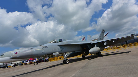 supersonic transport: SINGAPORE - FEBRUARY 16:  US Navy Boeing FA-18EF Super Hornet fighter on display at Singapore Airshow February 16, 2016 in Singapore