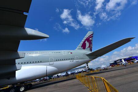 jumbo: SINGAPORE - FEBRUARY 16:  Qatar Airways Airbus A380 super jumbo on display at Singapore Airshow February 16, 2016 in Singapore