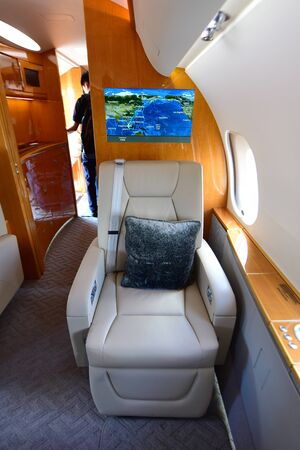 bombardier: SINGAPORE - FEBRUARY 16:  Luxurious interior of Bombardier Global 6000 business jet at Singapore Airshow February 16, 2016 in Singapore Editorial