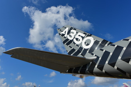 livery: SINGAPORE - FEBRUARY 16:  Airbus A350-900 XWB in carbon livery on display at Singapore Airshow February 16, 2016 in Singapore Editorial