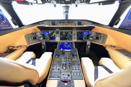 bombardier: SINGAPORE - FEBRUARY 16:  Bombardier Global 6000 business jet cockpit at Singapore Airshow February 16, 2016 in Singapore