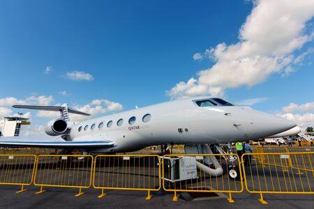 corporate jet: SINGAPORE - FEBRUARY 16:  Qatar Airways Executive Gulfstream G650ER corporate jet on display at Singapore Airshow February 16, 2016 in Singapore
