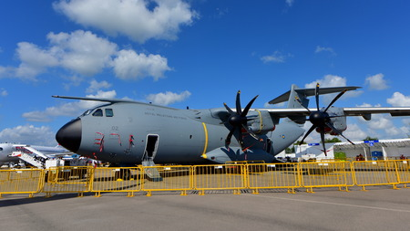 turboprop: SINGAPORE - FEBRUARY 16:  Royal Malaysian Air Force Airbus A400m military transport aircraft on display at Singapore Airshow February 16, 2016 in Singapore Editorial