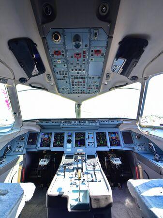 avionics: SINGAPORE - FEBRUARY 16:  Cockpit of Sukhoi Superjet 100 at Singapore Airshow February 16, 2016 in Singapore
