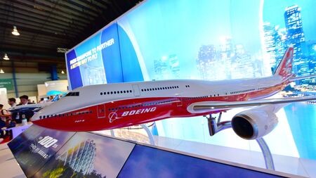 flagship: SINGAPORE - FEBRUARY 16:  Model of Boeing 747-8 flagship jumbo jet on display at Singapore Airshow February 16, 2016 in Singapore Editorial