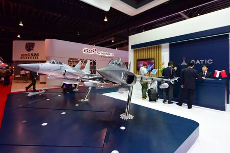 supersonic: SINGAPORE - FEBRUARY 16: Catic L-15 Chinese supersonic training and light attack aircraft on display at Singapore Airshow February 16, 2016 in Singapore
