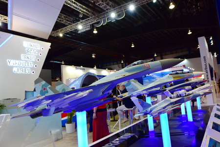 role model: SINGAPORE - FEBRUARY 16: UAC Sukhoi SU-35 multi-role fighter and other models on display at Singapore Airshow February 16, 2016 in Singapore