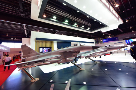 role model: SINGAPORE - FEBRUARY 16: Model of Catic Chengfu FC-20 multi-role fighter aircraft on display at Singapore Airshow February 16, 2016 in Singapore