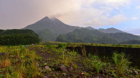 erupt: Mount Merapi, an active volcano in Indonesia
