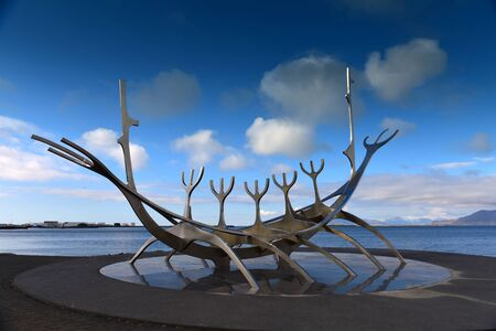 voyager: The Sun Voyager stainless steel sculpture, a dream of hope, progress and freedom, Reykjvik, Iceland Editorial