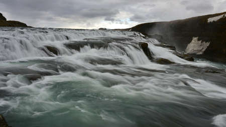 metres: Gullfoss, a 32 metres waterfall in the canyon of Hvita river in Iceland