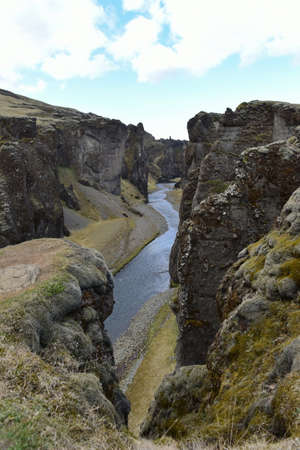 metres: Fjadrargljufur canyon that is about 100 metres deep and 2 kilometres long in southern Iceland