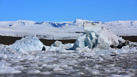 fjallsarlon: Fjallsarlon glacier lagoon at the end of Vatnajokull glacier in southern Iceland