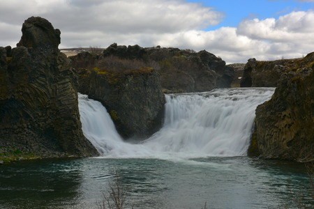 hekla: Hjalparfoss, a waterfall in the lava fields north of Hekla, Iceland