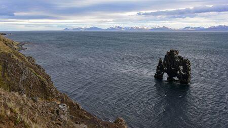 obrero: Hvitserkur, una pila de basalto 15 metros al noroeste de Islandia Foto de archivo