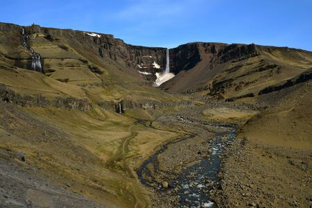 laborers: Hengifoss, the third highest waterfall in Iceland