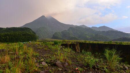 active volcano: Mount Merapi, an active volcano in Indonesia
