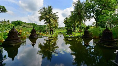 minature: Garden of a luxury resort in Java, Indonesia Stock Photo