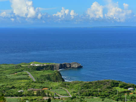 Panoramic view of Cape Hedo, northern most part of Okinawa, Japan