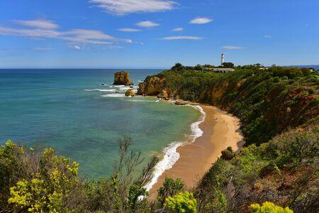 steep: Steep cliff along the coast of Split Point in Victoria, Australia Stock Photo