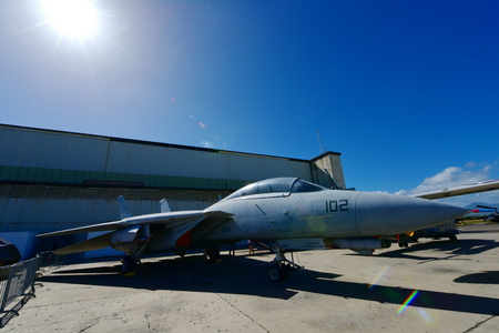 pearl habor: OAHU - NOVEMBER 19: USAF F-14 Tomcat fighter jet on display at Pearl Habor Pacific Aviation Museum on November 19, 2015 in Honolulu, United States of America Editorial