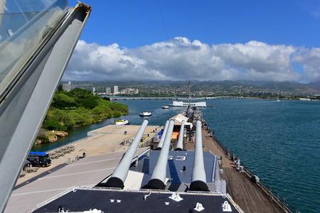 pearl habor: OAHU - NOVEMBER 19: Main battery of Mark 7 guns on USS Missouri on November 19, 2015 in Honolulu, United States of America Editorial