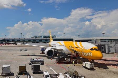 SINGAPORE - MAY 17: Scoot new Boeing 787-9 Dreamliner at Changi Airport on May 17, 2015 in Singapore