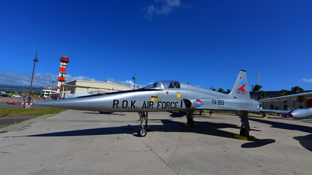 pearl habor: OAHU - NOVEMBER 19: Republic of Korea Air Force Northrop F-5A fighter jet on display at Pearl Habor Pacific Aviation Museum on November 19, 2015 in Honolulu, United States of America