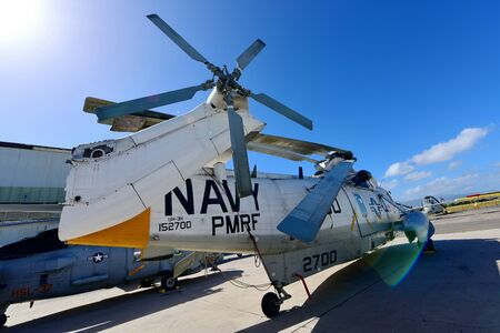 pearl habor: OAHU - NOVEMBER 19: US Navy Sikorsky H-3 Sea King rescue helicopter on display at Pearl Habor Pacific Aviation Museum on November 19, 2015 in Honolulu, United States of America Editorial