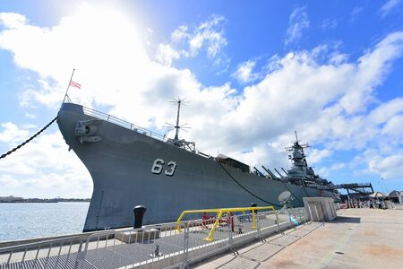 pearl habor: OAHU - NOVEMBER 19: Bow of USS Missouri battleship at Pearl Habor on November 19, 2015 in Honolulu, United States of America