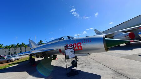 pearl habor: OAHU - NOVEMBER 19: Russia Mig-21 Flying Balalaika on display at Pearl Habor Pacific Aviation Museum on November 19, 2015 in Honolulu, United States of America