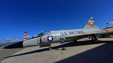 usaf: OAHU - NOVEMBER 19: USAF Convair F-102A Delta Dagger fighter jet on display at Pearl Habor Pacific Aviation Museum on November 19, 2015 in Honolulu, United States of America