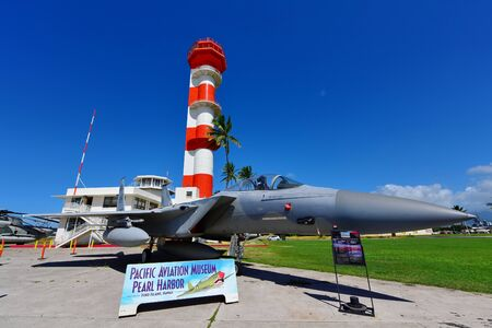 pearl habor: OAHU - NOVEMBER 19: USAF F15 fighter jet on display at Pearl Habor Pacific Aviation Museum on November 19, 2015 in Honolulu, United States of America Editorial
