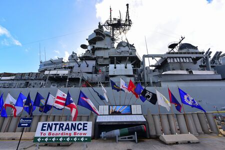 battleship: OAHU - NOVEMBER 19: Port side of USS Missouri world war 2 battleship on November 19, 2015 in Honolulu, United States of America Editorial