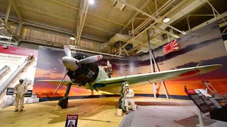 pearl habor: OAHU - NOVEMBER 19: Japanese Mitsubishi Z6M Zero fighter aircraft on display at Pearl Habor Pacific Aviation Museum on November 19, 2015 in Honolulu, United States of America