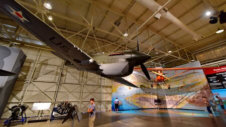 pearl habor: OAHU - NOVEMBER 19: Curtiss P-40E Warhawk Fighter on display at Pearl Habor Pacific Aviation Museum on November 19, 2015 in Honolulu, United States of America