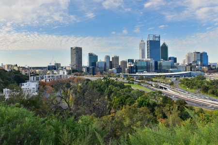 perth: PERTH - MAY 22: View of the financial district of Perth city on May 22, 2015 in Perth, Australia Editorial
