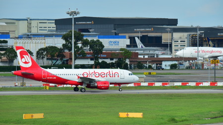 airbus: SINGAPORE - DECEMBER 23: Air Berlin Airbus A320 taxiing at Changi Airport on December 23, 2016 in Singapore