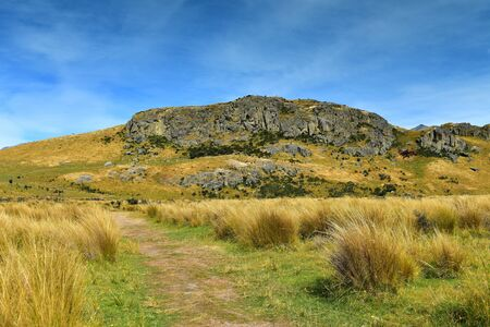 Mount Sunday, Lord of the Rings movie filming location for Edoras scene, in Canterbury, New Zealand Stock Photo