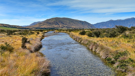mountain ranges: Scenic mountain ranges used for filming Lord of the Ring, in Ashburton Lakes, Canterbury, New Zealand