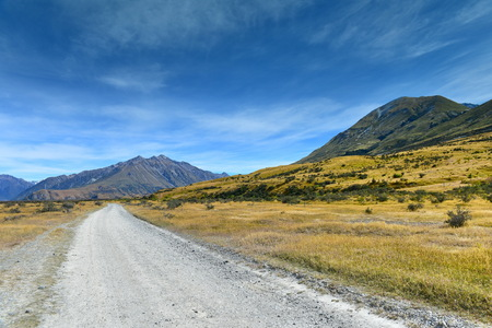 Scenic mountain ranges used for filming Lord of the Rings movie in Ashburton Lakes, Canterbury, New Zealand