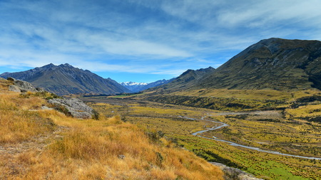Mount Sunday and surrounding mountain ranges, used in filming Lord of the Rings movie Edoras scene, in Canterbury, New Zealand