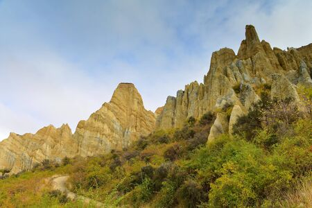 Clay Cliff tall pinnacles rock formations in Omarama, New Zealand